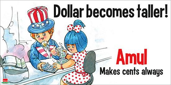 Amul ad takes on depreciation of rupee versus dollar.