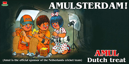 Amul, sponsor of the Netherlands cricket team.