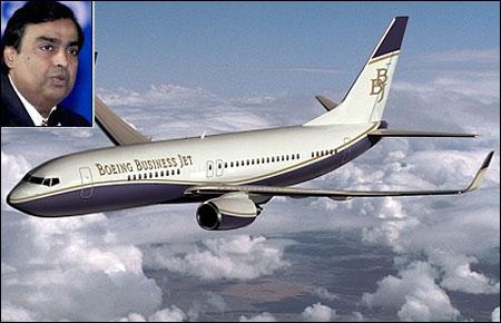 Boeing Business Jet 2. (Inset) Mukesh Ambani.