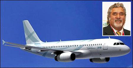 Airbus ACJ 319. (Inset) Vijay Mallya.