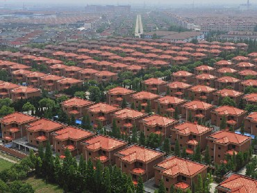 A view of villas built for residents in the Huaxi village of Jiangyin, Jiangsu province.