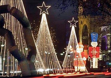 The Kurfuerstendamm boulevard in the German capital Berlin is lit up during Christmas.