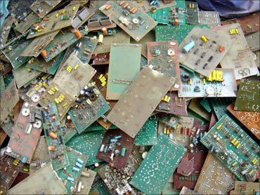 Processing tonnes of e-waste.