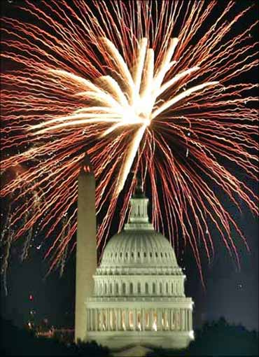 Fireworks at the Capitol in Washington.