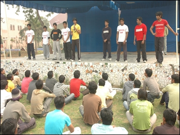 Prisoners take part in a dance program at Tihar jail.