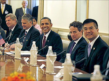 US President Barack Obama with his team during a meeting with Prime Minister Manmohan Singh.