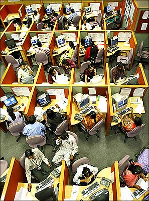 Employees at work in an IT company.