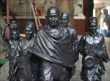 A statue of Mahatma Gandhi.