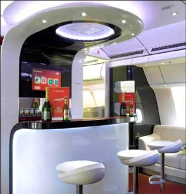 A bar inside the Kingfisher flight