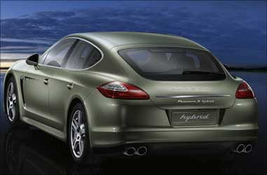 Rear view of Porsche Panamera S Hybrid.