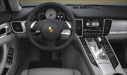 Interior view of Porsche Panamera S Hybrid.