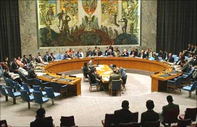 A meeting of the Security Council at UN.