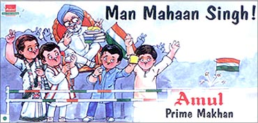Prime Minister Manmohan Singh in an amul advertisment.