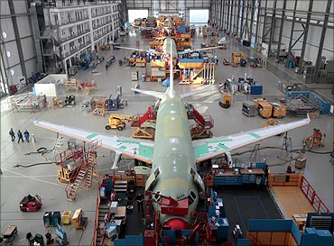 General view of the Single Aisle A320 production at the Airbus unit in Finkenwerder near Hamburg.