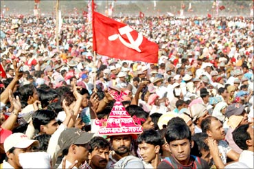 A Left Front rally in Kolkata.
