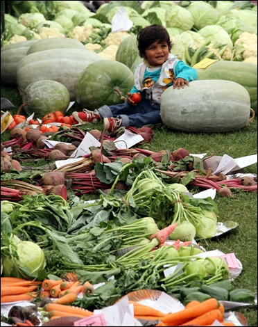 A child sits besides vegetables at an annual vegetable and flower exhibition in Lucknow.