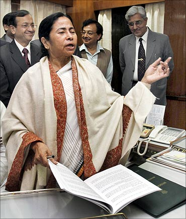 Mamata Banerjee speaks before giving the final touches to the Railway Budget in New Delhi.