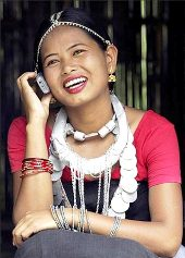 A dancer talking on the cellphone