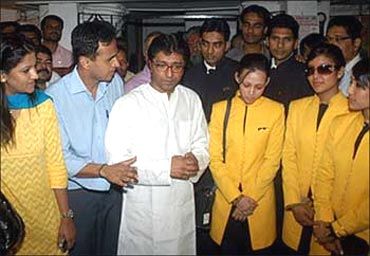 Jet employees with Raj Thackeray.