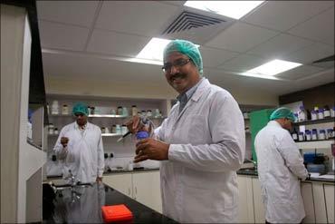 Dr Krishna M Ella in his lab.