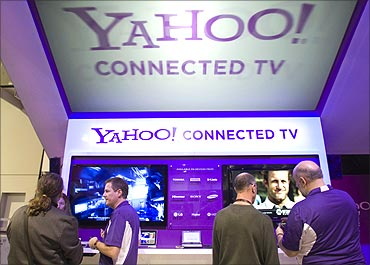 The Yahoo Connected TV booth is shown during the 2011 International Consumer Electronics Show (CES).