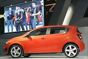 The Chevrolet 2012 Chevrolet Sonic five-door hatchback.
