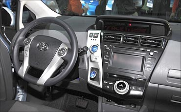 The interior view of the Toyota Prius V.