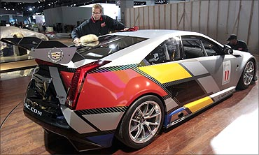 A Cadillac CTS-V coupe race car.