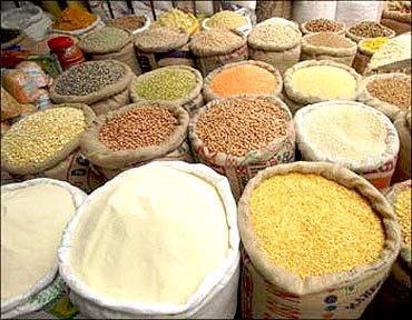 Cereals and pulses on sale.
