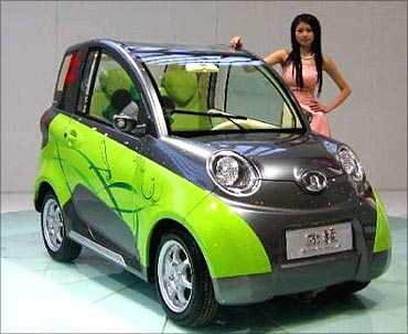 A hybrid car in China.