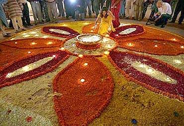 Diwali celebrations at the Bombay Stock Exchange.