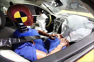 A crash test dummy in Volvo C30.