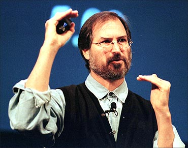 Steve Jobs talks during a presentation in November, 1999.