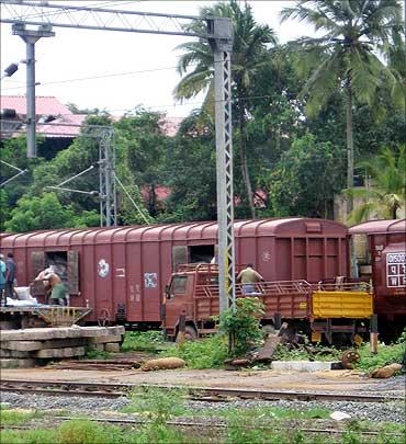 A goods train.