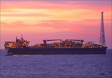 Reliance Industries Ltd's rig off the coast of Mumbai.
