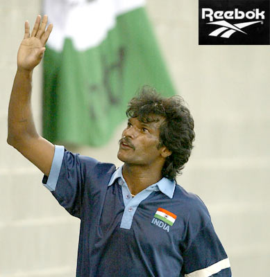 Former India hockey captain Dhanraj Pillay endorsing Reebok brand.