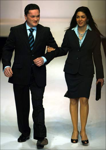 Raymond's boss Gautam Singhania with his wife.