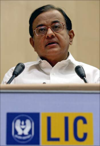 Home Minister P Chidambaram speaking at the golden jubilee celebrations at LIC HQ in Mumbai.