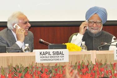 Prime Minister Manmohan Singh launching the Mobile Number Portability across India.