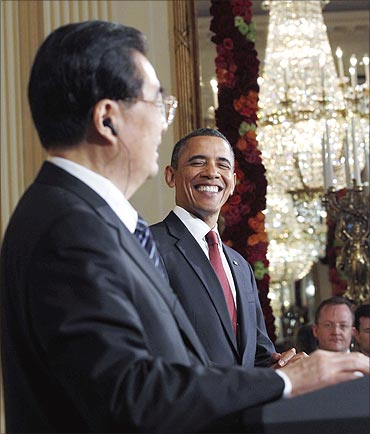 US President Barack Obama with Chinese President Hu.