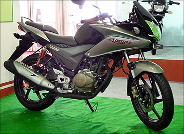 A Honda bike on display at the Mumbai Auto Show.