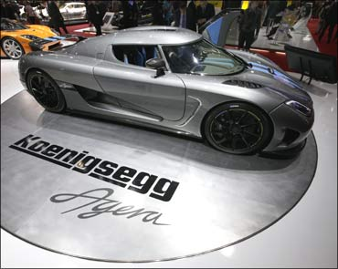 A new Koenigsegg Agera of Swedish car manufacturer Koenigsegg at the Geneva Car Show.