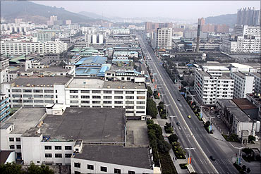 A view of factories in Dongguan's Changan town in the southern Chinese province of Guangdong.