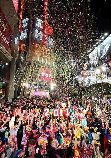 Revellers take part in New Year celebrations.