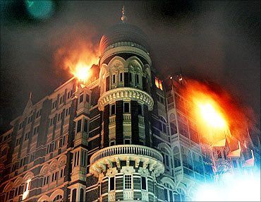 Fire at Taj hotel.