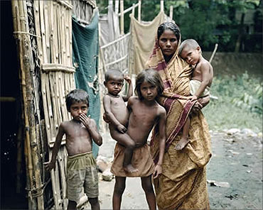 A poor family in India.