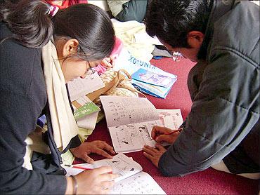 An adult literacy class.