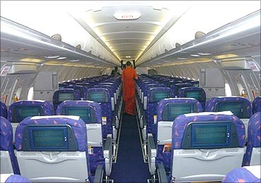 Inside an Air India flight.