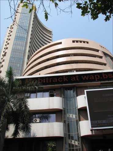The Bombay Stock Exchange building in Mumbai.