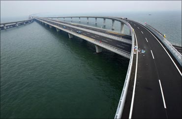Qingdao Jiaozhou Bay Bridge is seen in Qingdao, Shandong province, in this general view taken on June 27, 2011.